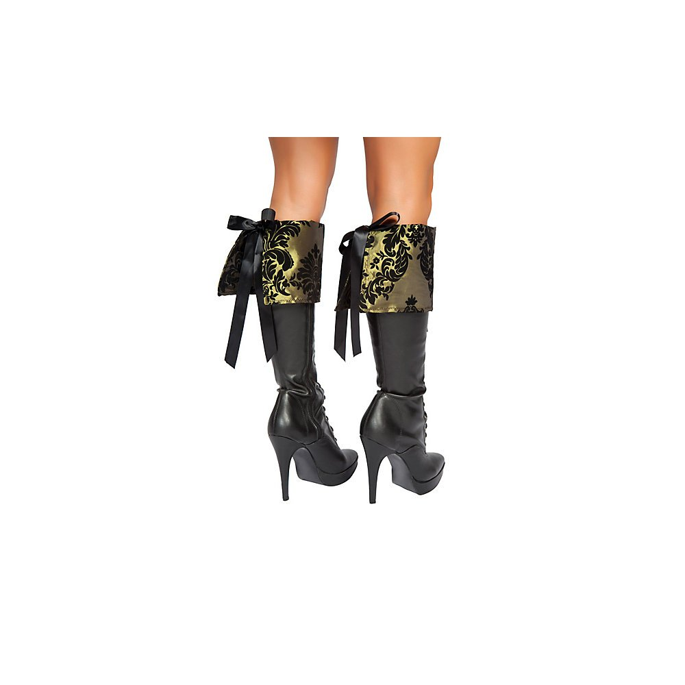 Women's Black and Gold Brocade Tea Party Tease Pirate Lady Boot Cuffs Costume Accessory with Black Ribbon Back Lace Up Ties by Roma Costume