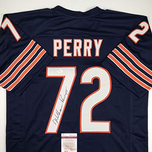 - Autographed/Signed William Perry The Refrigerator Chicago Blue Football Jersey JSA COA