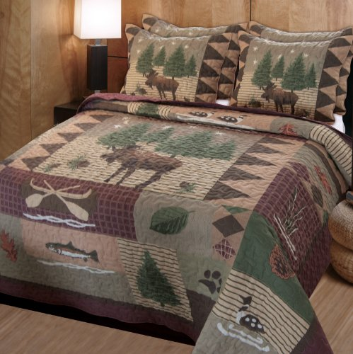 Greenland Home Moose Lodge Quilted Bedding Set, King, Natural