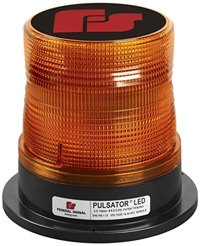 Power Series Pulsator - Federal Signal 212662-02SB Class 1 Pulsator LED Beacon, Magnetic Mount with Cigarette Plug, Tall Dome, Amber