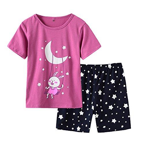 MyFav Lovely Cotton Pajama Sets Cute Hearts Shape Rabbits 2 Pieces Sleepwear Star Moon Loungewear