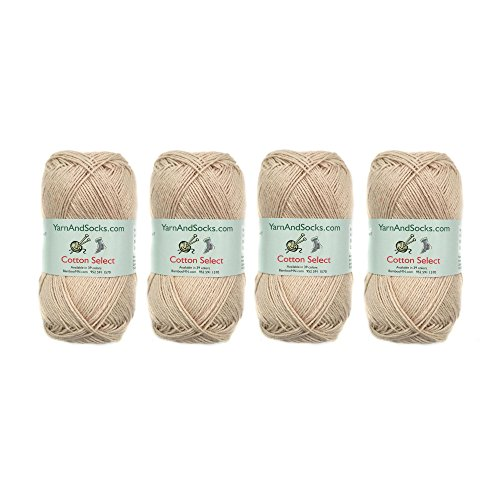 Cotton Select Sport Weight Yarn - 100% Fine Cotton - 4 Skeins - Col 101 - Vanilla Cream (Sock Cotton Yarn)