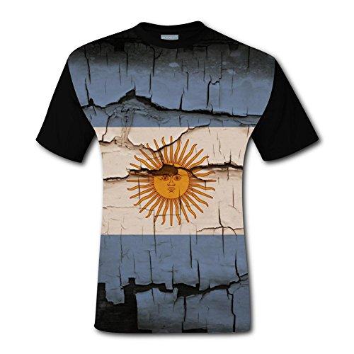 Deborahbe Flag of Argentina Men's T-Shirt Short Sleeve Funny Tee Shirt Sports Tshirt for Men M