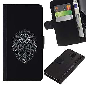 Be-Star la tarjeta de Crédito Slots PU Funda de cuero Monedero caso cubierta de piel Para Samsung Galaxy Note 3 III ( Grey Owl Wolf Native Pattern Indian )