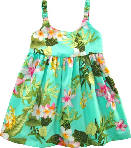 RJC Girls Orchid Plumeria Bungee Dress Aqua 3T (Hawaiian Party Dress)