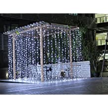 Safe Curtain Lights 9.8ft 300led Window Curtain Icicle Lights, Waterproof Christmas Curtain String Fairy Wedding Lights for Outdoor Party Home Kitchen Curtains Window Decorations - White