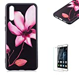 Funyye Relief Rubber Case for Huawei P20,Stylish Pink Lotus Pattern Soft Silicone TPU Gel Cover for Huawei P20,Slim Fit Shockproof Non Slip Back Cover Smart Shell Protective Case for Huawei P20 + 1 x Free Screen Protector