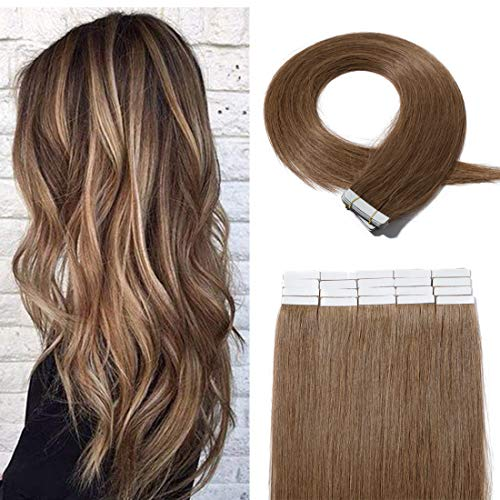 20 Pieces Rooted Tape in Hair Extensions Human Hair Seamless Skin Weft 100% Real Remy Invisible Tape Hair Extensions Straight Double Sided 20 inches #06 Light Brown 30g ()