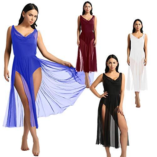 YiZYiF Lyrical Women Adult Dance Dress Leotard Mesh Neck Dancewear Flowy Long Slit Skirt