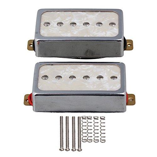 (Yibuy Cream Color Pearl P90 Single Coil Bridge & Neck Pickups Set for Electric Guitar Parts)