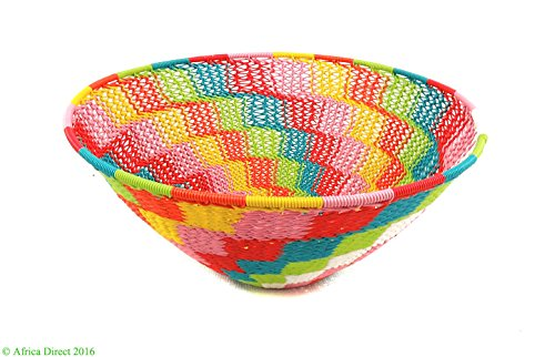 Zulu Basket Telephone Wire Bowl Colors South African Art