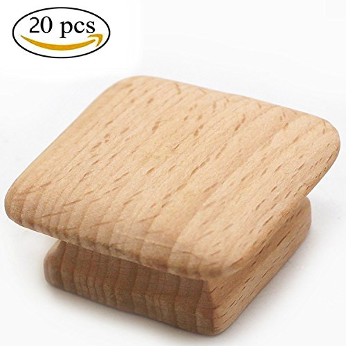 WEICHUAN 20PCS Square Unfinished Wood Drawer Knobs Pulls Handles - Cabinet Furniture Wardrobe Door Drawer Knobs Pulls Handles (Length And Width: 1-3/4