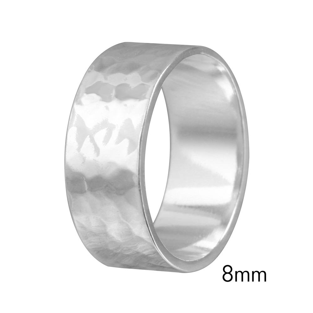 8mm Men & Women Sterling Silver Hand Hammered Flat Wedding Band Ring SURANO DESIGN JEWELRY 8mm-hammer
