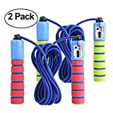 KINGSOO 2 Pack Adjustable Jump Rope with Counter for Kids & Adult- Lightweight Speed Jump Rope Exercise Fitness (2 Unit-Red&Blue)