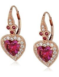 Sterling Silver Swarovski Zirconia Heart Vintage Themed Drop Earrings
