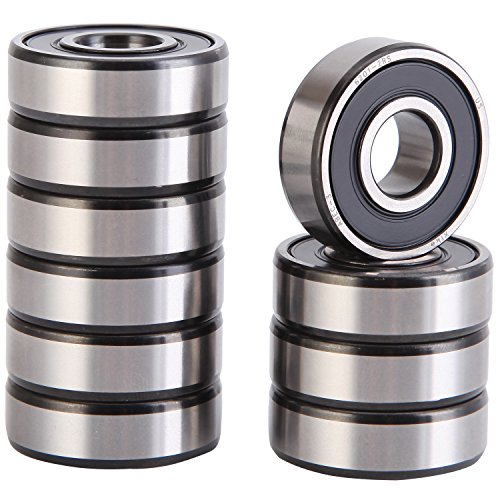 XiKe 10 Pack 6201-2RS Precision Bearings 12x32x10mm, Rotate Quiet High Speed and Durable, Double Seal and Pre-Lubricated, Deep Groove Ball Bearings.