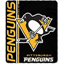 "The Northwest Company NHL Pittsburgh Penguins Cross Check Fleece Throw Blanket, Black, 50"" x 60"""