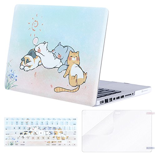 MOSISO Plastic Pattern Hard Case&Keyboard Cover&Screen Protector Only Compatible with Old Version MacBook Pro 13 Inch (A1278, with CD-ROM) Release Early 2012/2011/2010/2009/2008, Cute Cartoon Cat