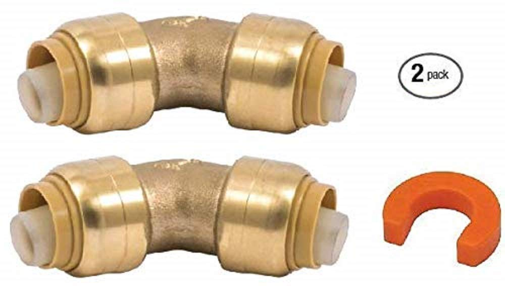 CPVC 100/% Satisfaction Guarantee /… HDPE and PE-RT Residential or Commercial Plumbing Lead Free Brass couplings for Copper Pipe PEX 1//2 45deg Elbow 2-Pack U648LF with Disconnect Clip