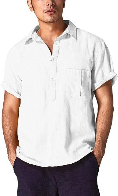 Camisa de algodón para Hombre, Manga Corta, Cuello Abierto, Playera de Verano - Blanco - Large: Amazon.es: Ropa y accesorios