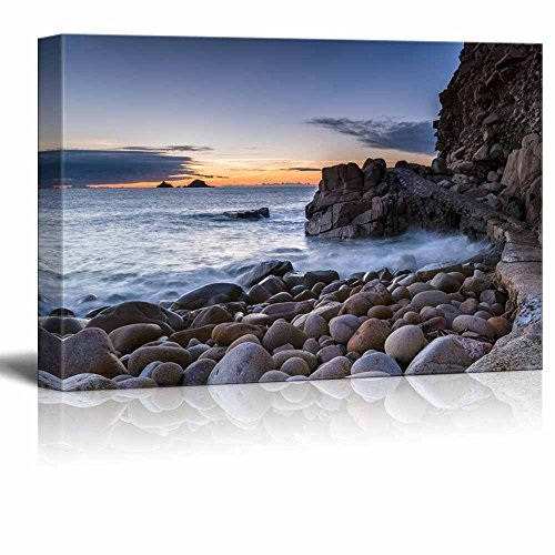 (Canvas Prints Wall Art - Beautiful Scenery/Landscape Path Over Rocks at Porth Nanven Cove near Lands End in Cornwall | Modern Wall Decor/ Home Decoration Stretched Gallery Canvas Wrap Giclee)