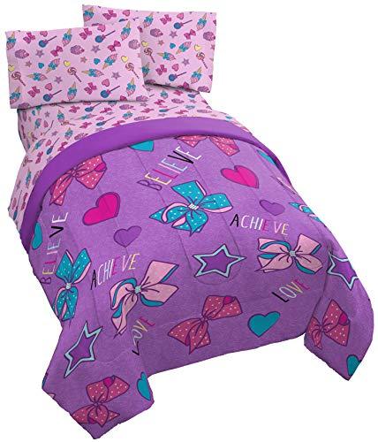 Jay Franco Nickelodeon JoJo Siwa Dream Believe Twin Comforter - Super Soft Kids Reversible Bedding Features - Fade Resistant Polyester Microfiber Fill (Official Nickelodeon Product)