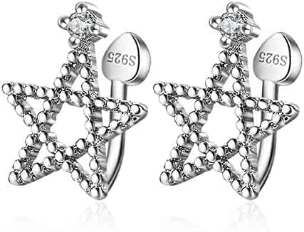 4042827b9 Sterling Silver Plated Cubic Zirconia Beads Sided Hollow Five Pointed Star  Charm Clip-on Stud