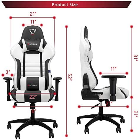 【New Update】 Furgle Gaming Chair Racing Style High-Back Office Chair w/PU Leather and Adjustable Armrests Executive Ergonomic Swivel Video Game Chairs with Rocking Mode & Headrest and Lumbar Support 51zxXjEdZdL