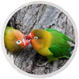 Pixels Round Beach Towel With Tassels featuring ''Close-up Of A Pair Of Lovebirds, Ndutu'' by Pixels
