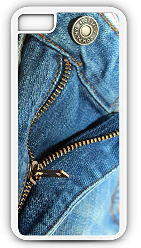 iPhone 6s Case Blue Jeans Zipper Faded Denim Fabric Customizable by TYD Designs in White Rubber