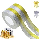 Aokbean 4 Pack 5/8 Inch 25 Yds-Total 100 Yard Premium Glitter Metallic Sparkle Satin Ribbon Roll Bow Making Ribbons for Gift Wrap DIY Bow Home Wedding Decoration