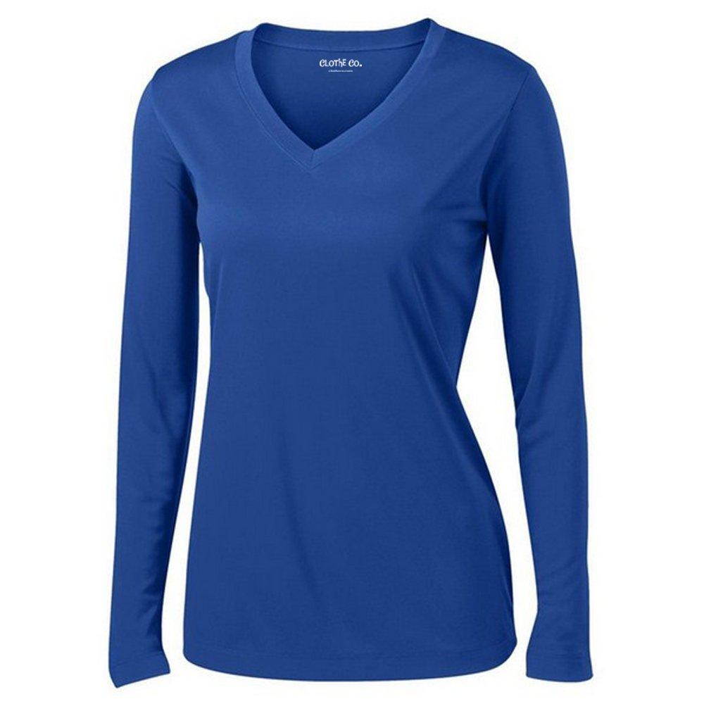 Clothe Co. 長袖Vネックアスレチックシャツ レディース 湿気発散性 B01BS3FPPC 3L トゥルーロイヤル(True Royal) トゥルーロイヤル(True Royal) 3L