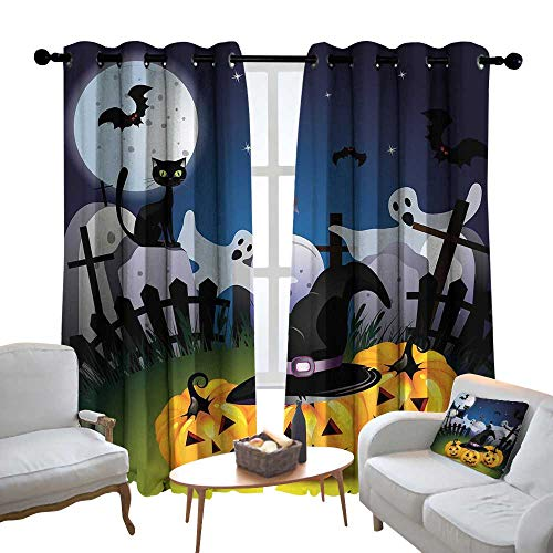 Lewis Coleridge Pattern Curtains Halloween,Funny Cartoon Design with Pumpkins Witches Hat Ghosts Graveyard Full Moon Cat,Multicolor,Living Room and Bedroom Multicolor Printed Curtain Sets 54