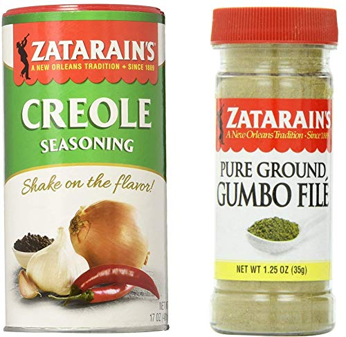 Zatarain's Cajun Seasoning Bundle - 1 each of Zatarain's Creole Seasoning 17 Ounces and Zatarain's Gumbo File' 1.25 Ounces