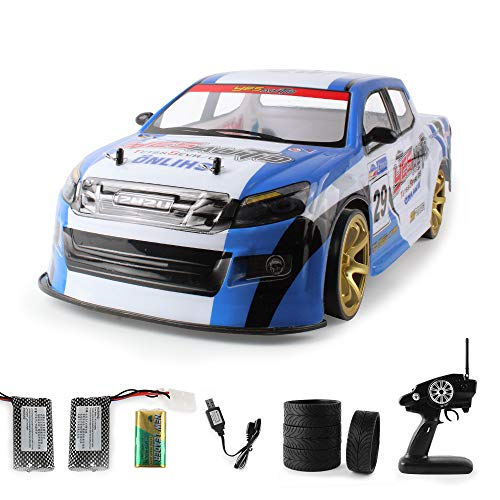 RC Car for Adults - 1/10 - 2.4Ghz Electric with LED Headlight Racing Off Road Truck - Huge 4WD High Speed Remote Control 70km/h Racing Drift Car, Electric Toy Car for All Adults & Kids (blue) (Rc Helicopters Powered Gas)