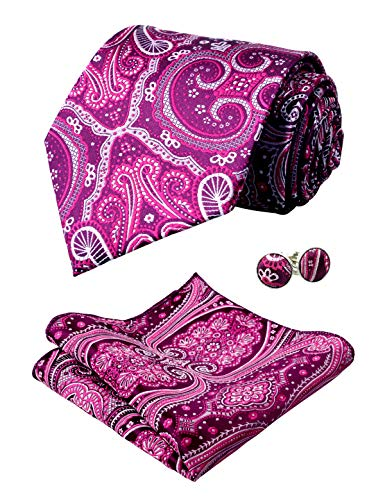(Alizeal Mens Floral Jacquard Tie, Hanky and Cufflinks Set, Magenta)