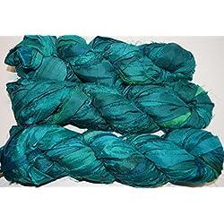 Fluffy Sari Pure Silk 100g Ribbon Yarn recycled Sari Silk Ribbon Yarn multicolored Jewels shade for making Jewelry
