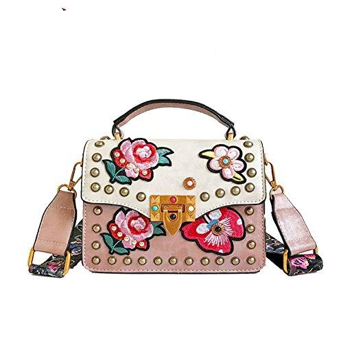 Butterfly Studded Tote - LHKFNU Fashion Embroidered Flower Studded Butterfly Shoulder Straps Ladies Shoulder Bag Handheld Femal Crossbody Messenger Bag