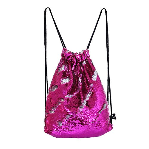 Zhaoyun Sequin Drawstring Backpack,Magic Reversible Bag Glittering Dance Bag