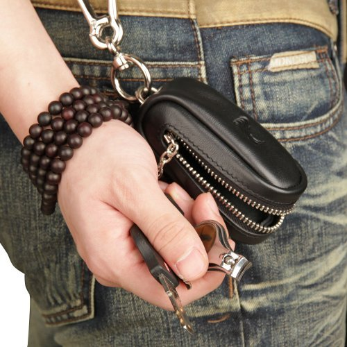Key Genuine Purse Black Hung Men Multifunction Coin Capacity Case MX Car Cowhide Waist HxawqaUR