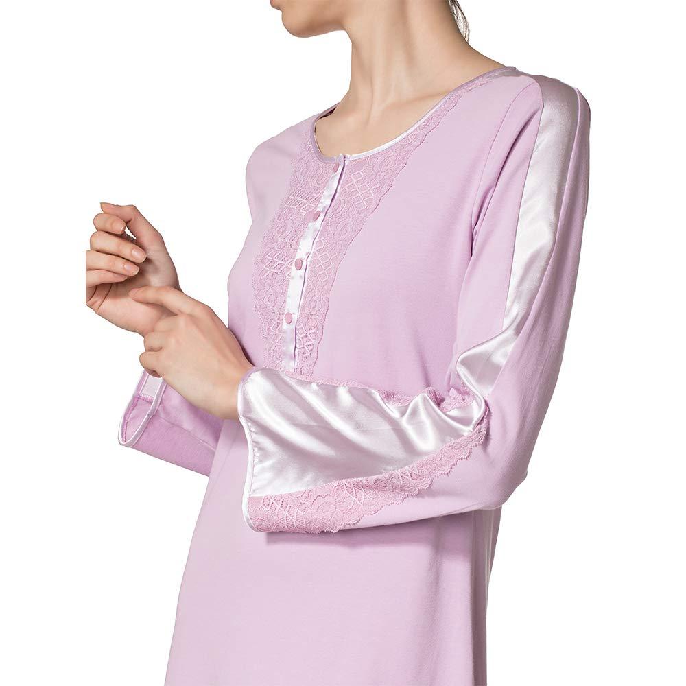 Camicia da Notte Pigiama di Cotone Manica Lunga Scollo a v Donna Vestito Estivo Lungo Abito