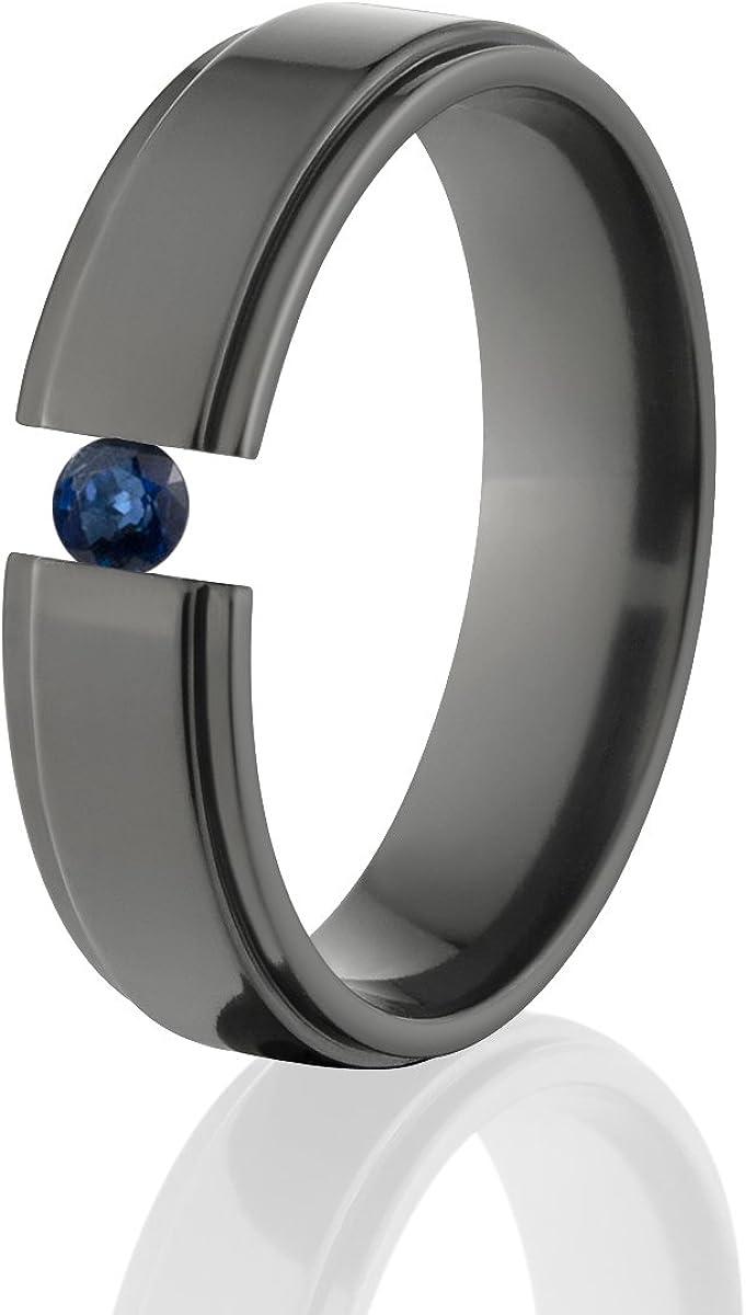 Sapphire Ring Black Zirconium Tension Set Jewelry Stunning Sapphire Band