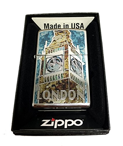 Zippo Custom Lighter - London Big Ben Fuzion Mosaic - Regular High Polished (Big Zippo Lighter)