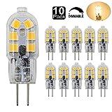 Dayker 2W G4 LED Bi Pin Bulb Dimmable Jc Type G4 Base Lightbulb AC/DC 12V Warm White for Closet Lights, Under Cabinet, Landscape Lighting, Auto, RV Lighting(10 Pack)
