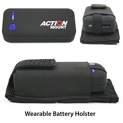 Action Mount Wearable Battery Charger   5200mAh External Power Pack with Holster. Perfect for Sport Camera or Phone Charging. Most Affordable Wearable Battery Pack. (Black Battery & Holster)