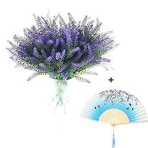 8 Bundles Artificial Flowers Lavender Bouquet in Purple Artificial Plant Arrangement Lifelike Natural Fake Plant to Brighten Up Your Home Decor Party Wedding Garden Office Patio Decoration 51