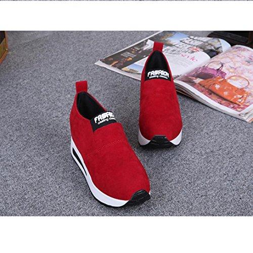 Elevin (tm) 2018 Femmes Automne Mode Caché Talon Plate-forme Chaussures De Voyage Sneaker Pompe Chaussures Rouge