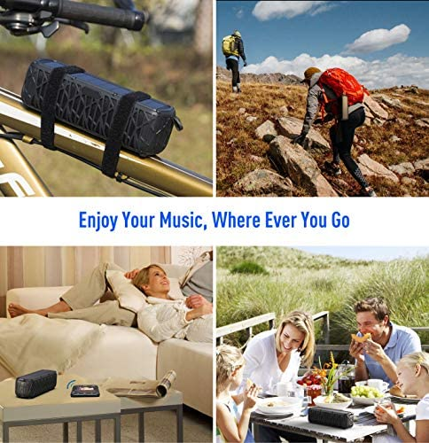 ABFOCE Solar Bluetooth Speaker Portable Outdoor Bluetooth IPX6 Waterproof Speaker with 5000mAh Power Bank,60 Hours Play Time Dual Speaker with Mic, Stereo Sound with Bass Home Wireless Speaker-Black 51zxZWQsPEL