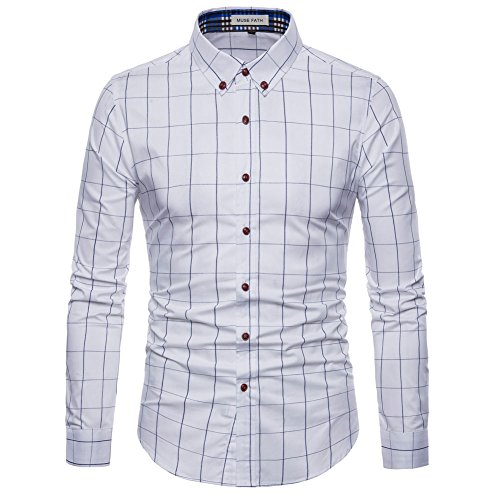 MUSE FATH Long Sleeve Shirt-Cotton Plaid Shirt-Easycare Long Sleeve Shirt-White-XS ()