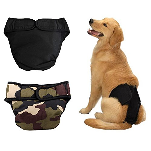 Dog Breed Brittany Spaniel - QUMY Washable Female Dog Diapers (Pack of 2) - Durable Female Dog Belly Wrap with Velcro Washable Reusable Sanitary Panties (Black, Camouflage)